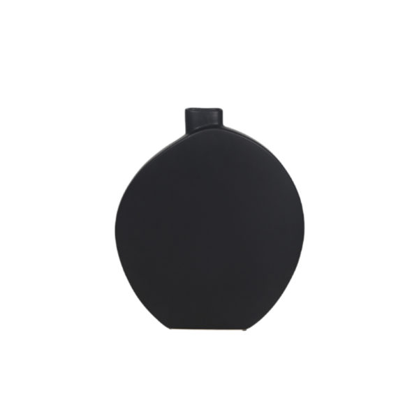BLACK OVAL CERAMIC BUD VASE